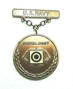 National Level Silver US Navy Rifle EIC Excellence In Competition Badge Medal