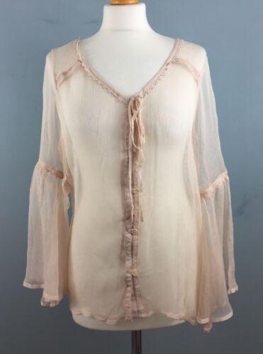 Miss Selfridge sheer chiffon top Boho Crochet trims Flared sleeves New