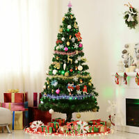 Homcom 7-Ft Pre-Lit Artificial Christmas Tree with LED Lights