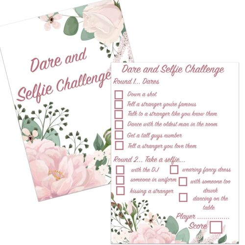 10 DARE SELFIE CHALLENGE CARDS FLORAL HEN NIGHT PARTY BRIDAL SHOWER CARD GAMES