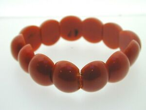 Art-Deco-Coral-Celluloid-Beaded-Cabochon-Bracelet-2-Holed-Beads-17-5-mm-wide-7-034