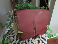 Lucky Brand Laguna Canyon Collection Cowhide Leather Wine Handbag Purse