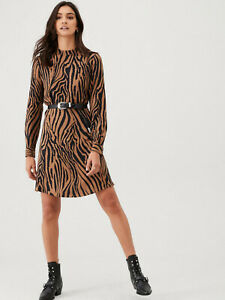 Warehouse-NEW-Womens-Animal-Tiger-Print-Long-Sleeve-Flippy-Dress-8-to-18
