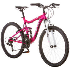 "24"" Mongoose Ledge Girls Mountain Bike 21 Speed Full Suspension Aluminum Bicycle"