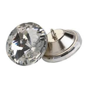 GéNéReuse 4 Verre De Cristal 25 Mm Ronde Bouton Clair Grand Diamant Verre Effet Metal Back-afficher Le Titre D'origine Valeur Formidable