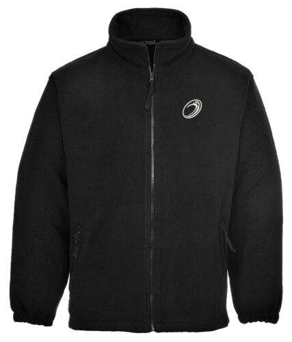 Full Zip Fleece Ideal Gift Embroidered Rugby Ball Image