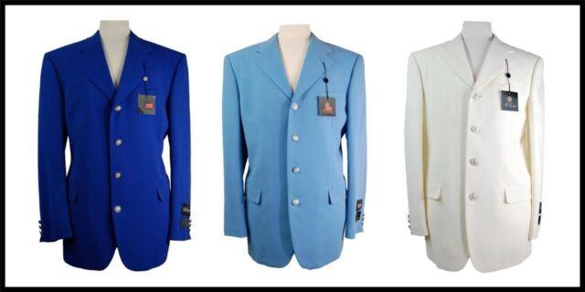 New Mens Fashion El Leone Blazer Sports Coat 4 Button Royal Blue, Lt Blue, Ivory