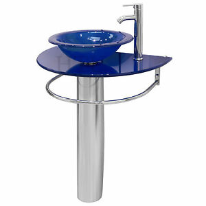 Modern 30 Bathroom Vanities Pedestal Blue Vessel Glass Bowl Sink