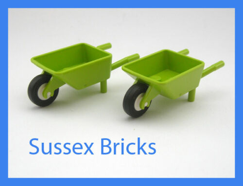 2x Lime Green Wheelbarrow Garden Park Minifigure Lego City Brand New Pieces
