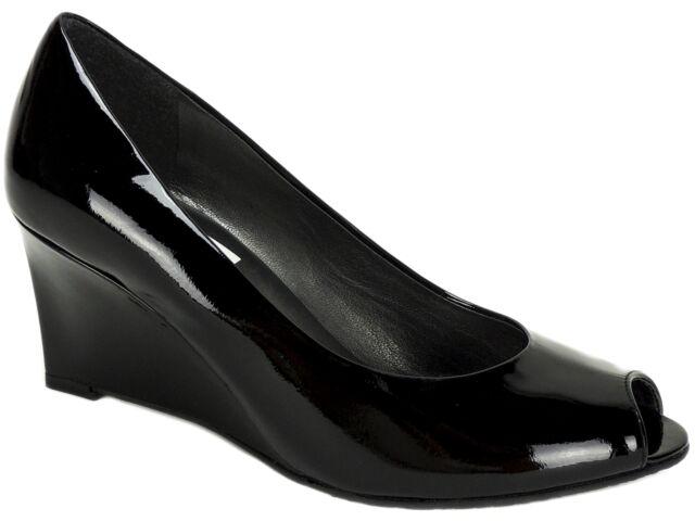 f9732cbbe98f3 Stuart Weitzman Women's Nuanna Peep-Toe Wedge Pumps Black Patent LE Size  5.5 M