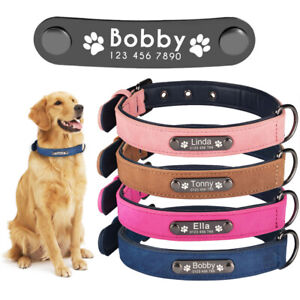 Leather-Dog-Collar-Personalized-Custom-Engraved-Name-ID-Tag-Small-Medium-Large