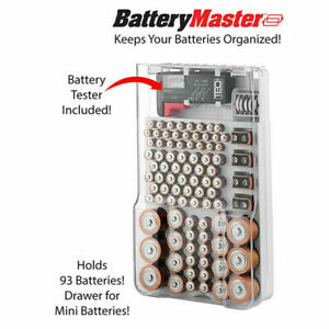 factory price e61ea 208f0 Details about Battery Organizer Storage Case With Hinged Clear Cover +  Portable Battery Tester
