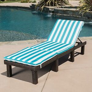 Outdoor patio brown wicker adjustable chaise lounge chair for Blue and white striped chaise lounge cushions