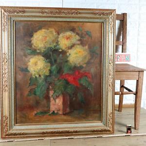 Carl-Dorrbecker-1894-1983-Oil-Painting-1961-Still-Life-Flowers-Chrysanthemums