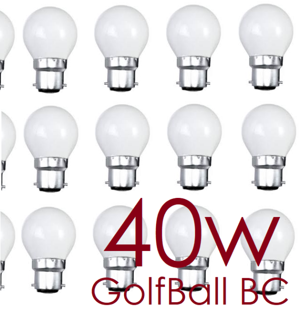 BellLight 40w Incandescent Opal Golf Ball Light Bulb BC B22 230-240 Pack of 2