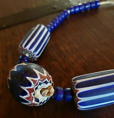 Antique Native American Indian Large Round Chevron Venitian Glass Trade Beads Ebay