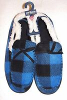 Men's Urban Pipeline Blue Plaid Moccasin Slippers - Size Large (10-11 Shoe) -nwt