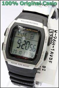 W-96H-1A-Black-Genuine-Casio-Watch-Men-039-s-Digital-Alarm-Chronograph-50M-Resin