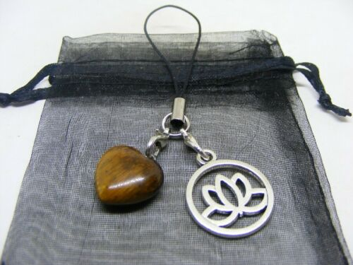 Handbag Charm Natural Tiger Eye Heart /& Lotus Blossom Mobile Phone