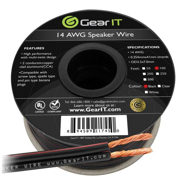 14AWG Speaker Wire, GearIT Pro Series 14 AWG Gauge Speaker Wire Cable (100 Feet