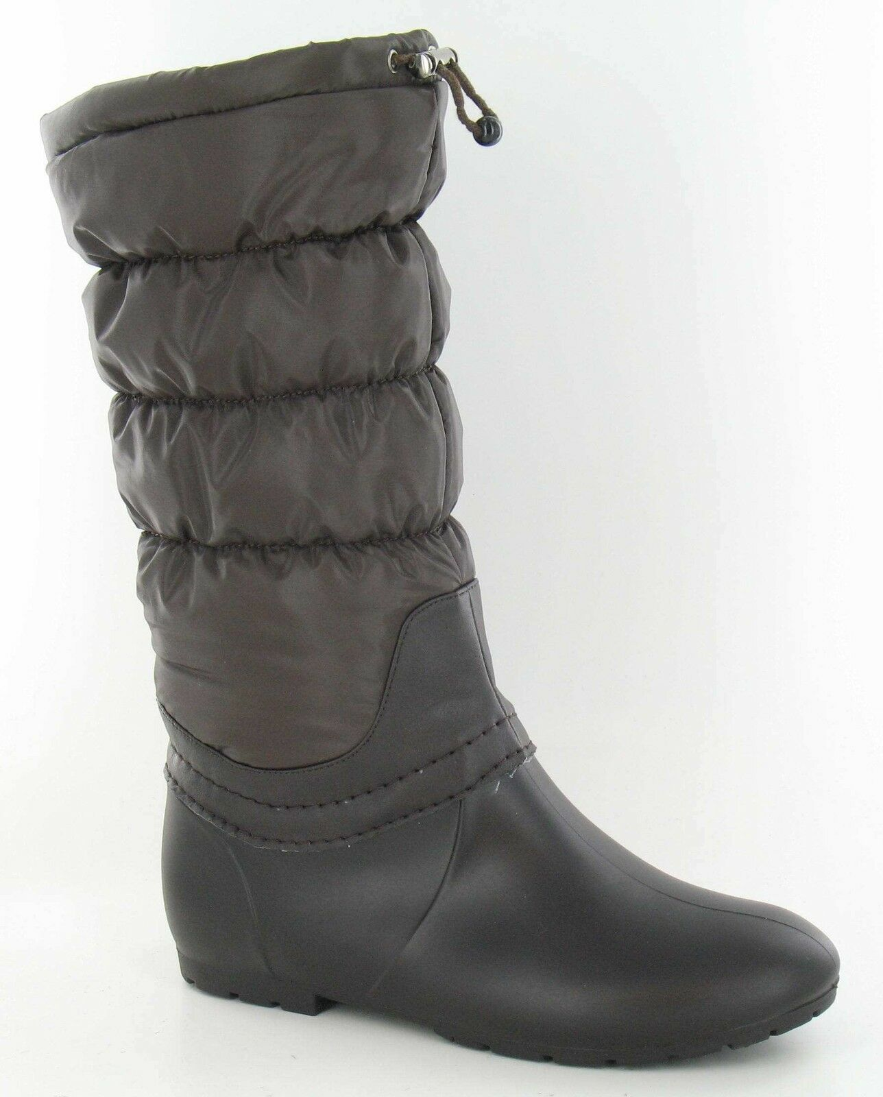 Ladies Brown Synthetic Toggle Fastened Ruched Wellington/Sno<wbr/>w Boots Spot On