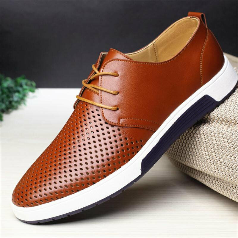 British Men Lace-up Sneakers Oxford Casual Genuine Leather shoes Breathable New