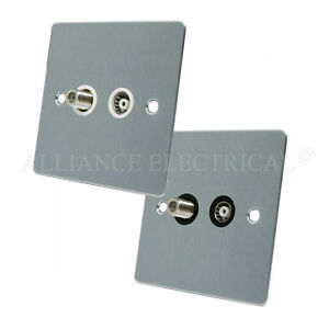 Brushed-Satin-Chrome-Flat-TV-Sky-Socket-Aerial-Coaxial-and-Satellite-Socket