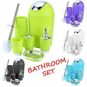 BATHROOM-SET-6-PIECE-ACCESSORY-BIN-SOAP-DISH-DISPENSER-TUMBLER-TOOTHBRUSH-HOLDER