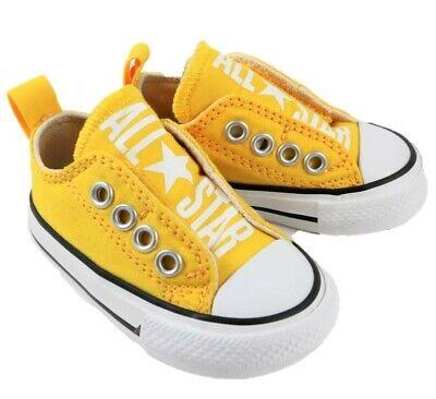 Scarpe Converse All Star Slip on infant bambino bambina tele giallo | eBay