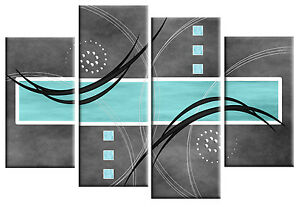 Duck Egg Blue Grey Abstract Canvas Picture Wall Art Split Multi