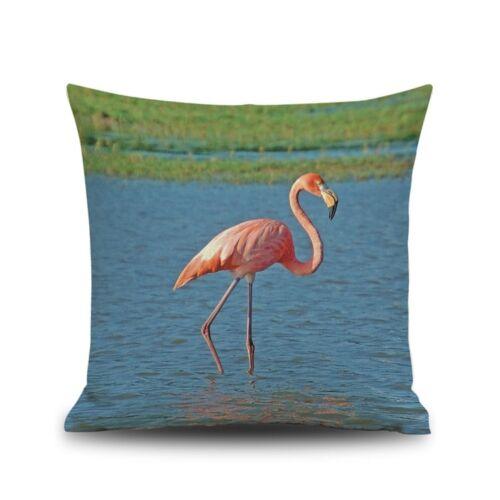 Kissenbezug Flamingo Kissenhülle Rosa Vogel Dekokissen 45x45cm Reißverschluss