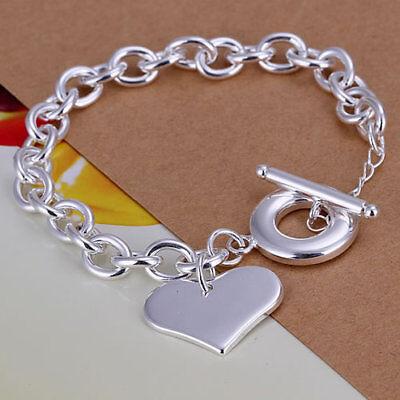 Mutig Asamo Damen Armband Mit Herz Anhänger 925 Sterling Silber Plattiert A1285 Eine GroßE Auswahl An Farben Und Designs