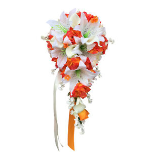 Cascade-Teardrop-Wedding-Bouquet-Orange-and-Ivory-Artificial-Roses-and-Lilies