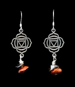 Handmade Reiki Charged Red Jasper Gemstone earrings 925 Sterling Silver