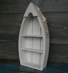 Details Zu Kleines Wandregal Boot Bootsregal Holz Weiß Maritim Setzkasten Deko Regal Bad