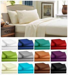 1800TC-Soft-4-Pcs-FLAT-amp-FITTED-Pillow-Case-Bed-Sheet-Set-Full-Queen-King-Size