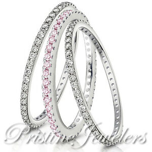 Eternity 925 Sterling Silver Stackable Wedding Ring CZ Pave Womens Accent Band