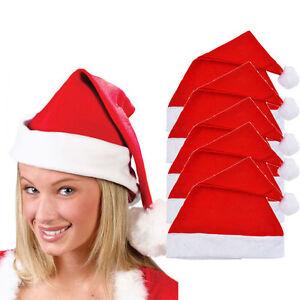5x-Adulti-Unisex-adulto-XMAS-red-cap-cotone-Babbo-Natale-Cappello-Novita-di-Natale-partito