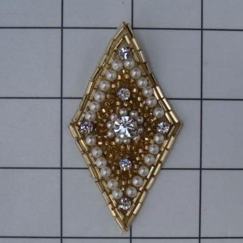 DIAMOND SHAPE PEARLED RHINESTONE BEADED APPLIQUE 2397-H
