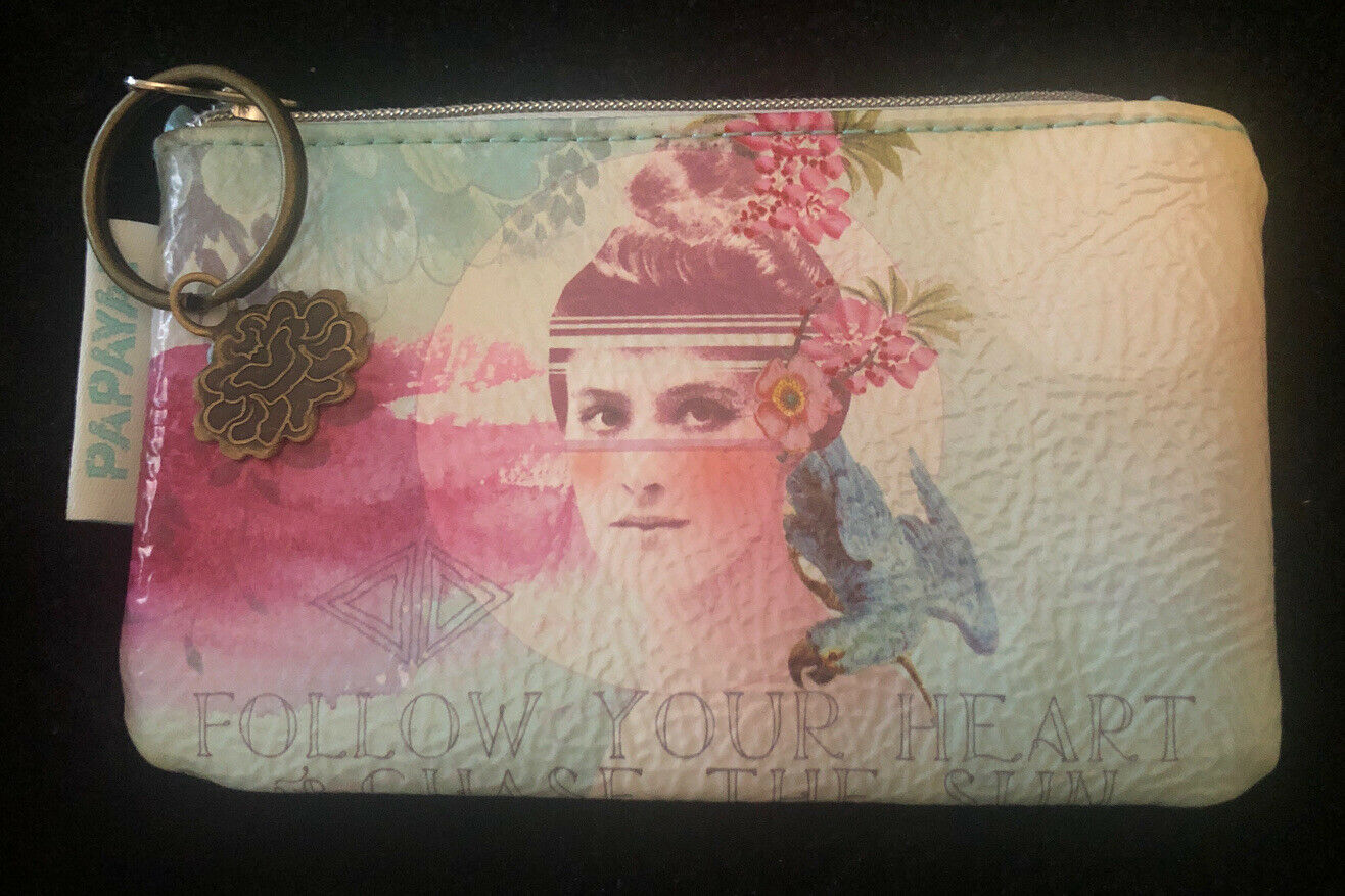 PAPAYA ART ZIP COIN POUCH-NWOT-FOLLOW YOUR HEART-Non Leather-Pastels-Keychain