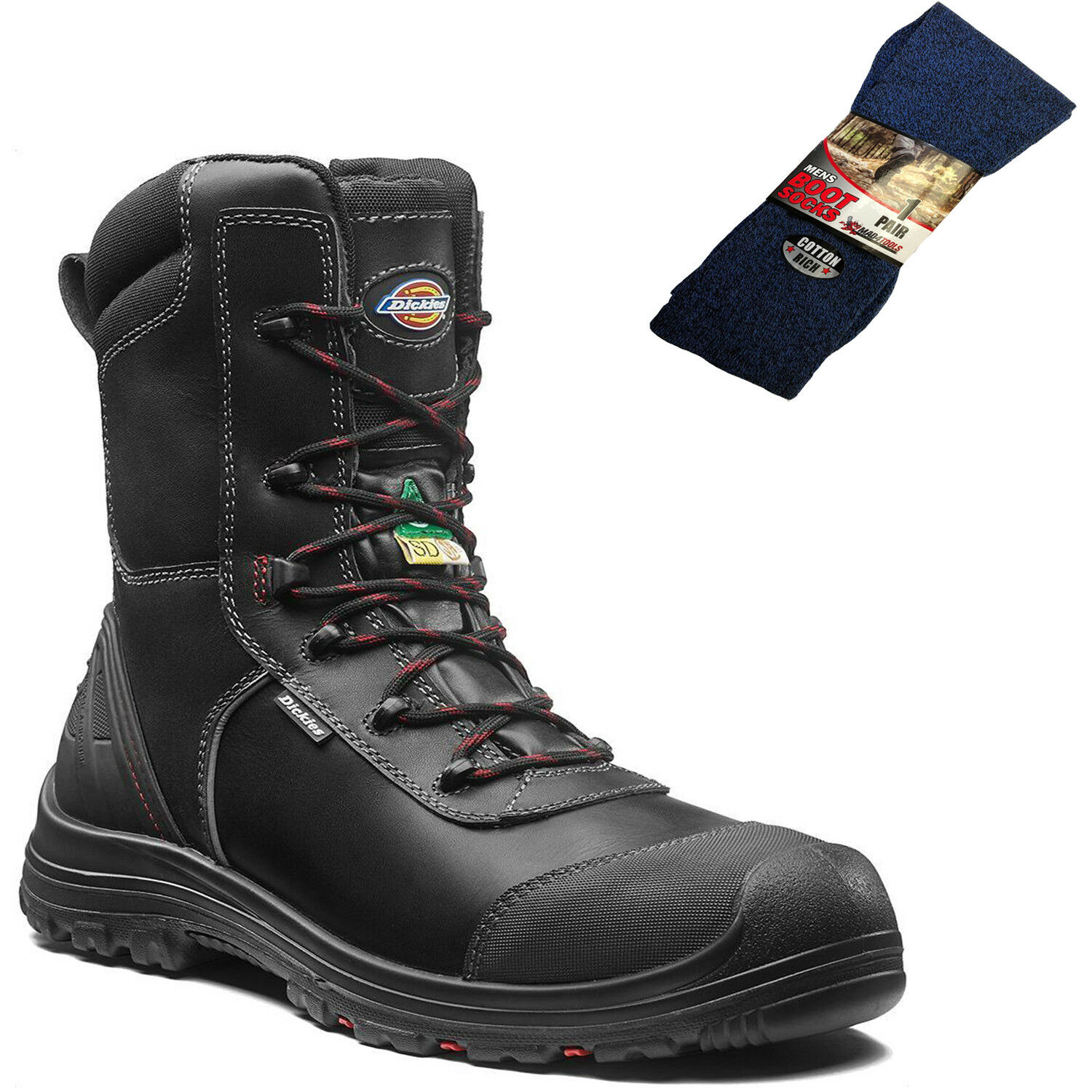Dickies TX Pro Safety Work Boots Black & 1 Pair of Boot Socks