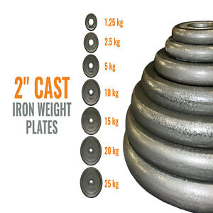 Cast-Iron-2-034-Weight-Plates-Olympic-Dumbbell-Weight-Lifting-Bars-1-25kg-to-25kg