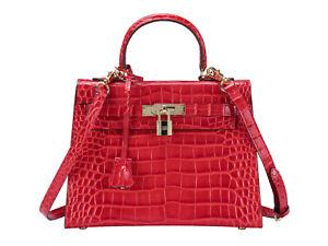 25-28cm-Women-Ladies-Shoulder-Tote-Bag-Crocodile-Leather-Handbag-Vintage-Padlock