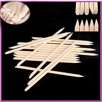 100 PCS Nail Art Orange Wood Stick Cuticle Pusher Remover Pedicure Manicure Tool