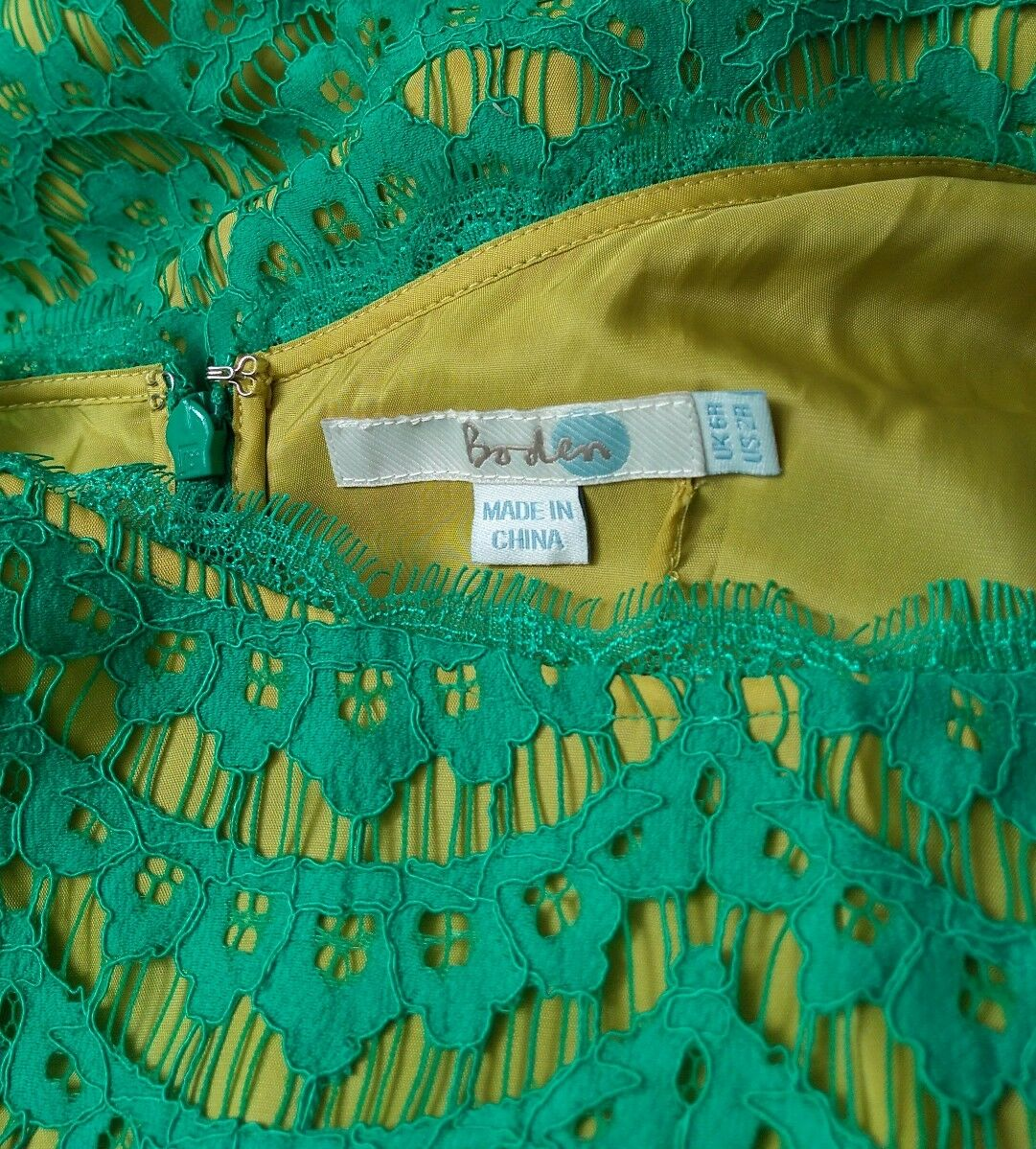BODEN lace dress size 6R --BRAND NEW-- green contrast lining lining lining short sleeve 3efbe6