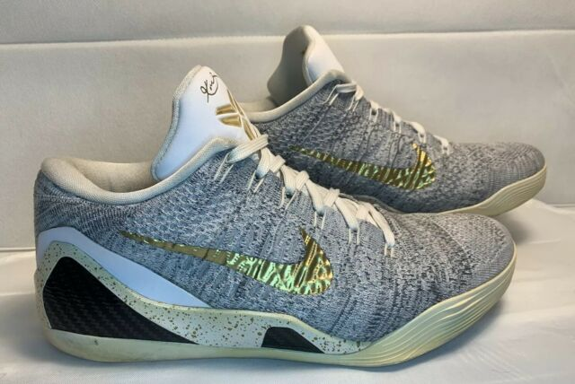 size 40 f9b22 5d7c2 Nike Kobe IX 9 Low Elite Flyknit ID Men's Size 10.5 Grey/Black/White/Gold