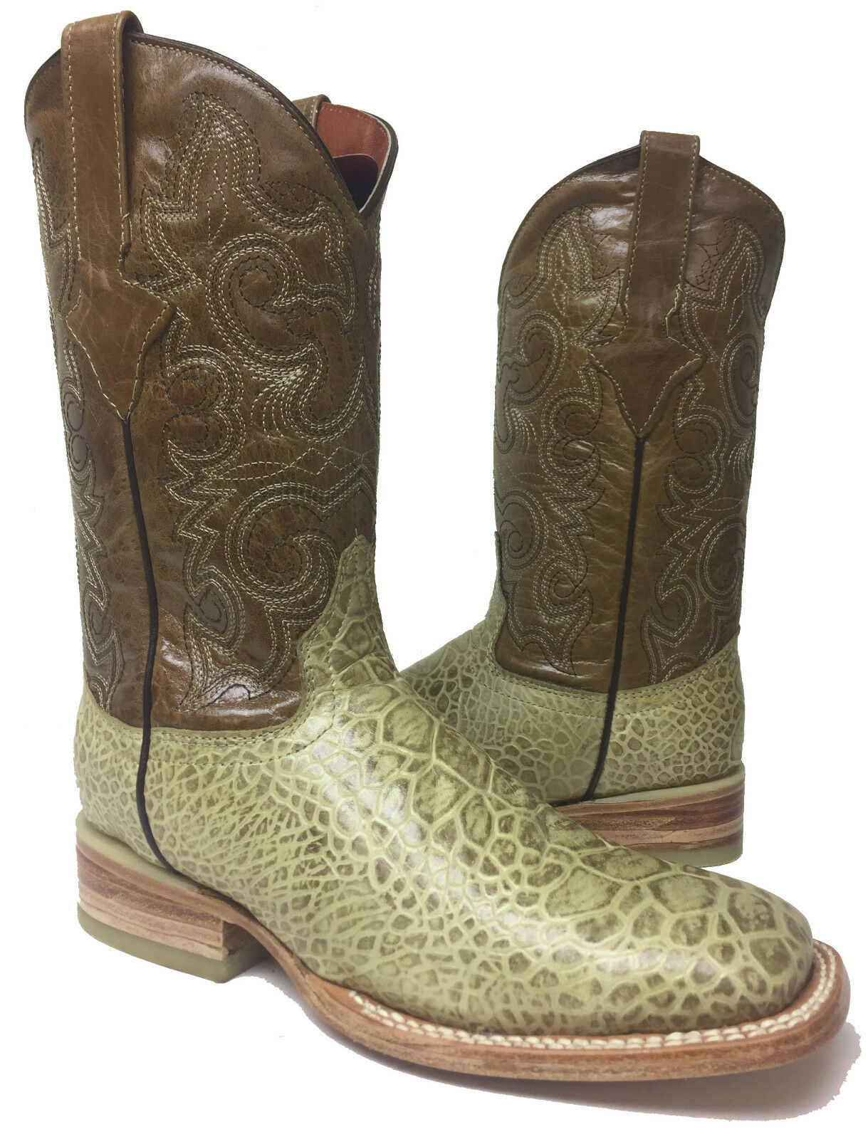 Mens Beige Orix Crocodile Alligator Belly Leather Cowboy Western Boots Size 6