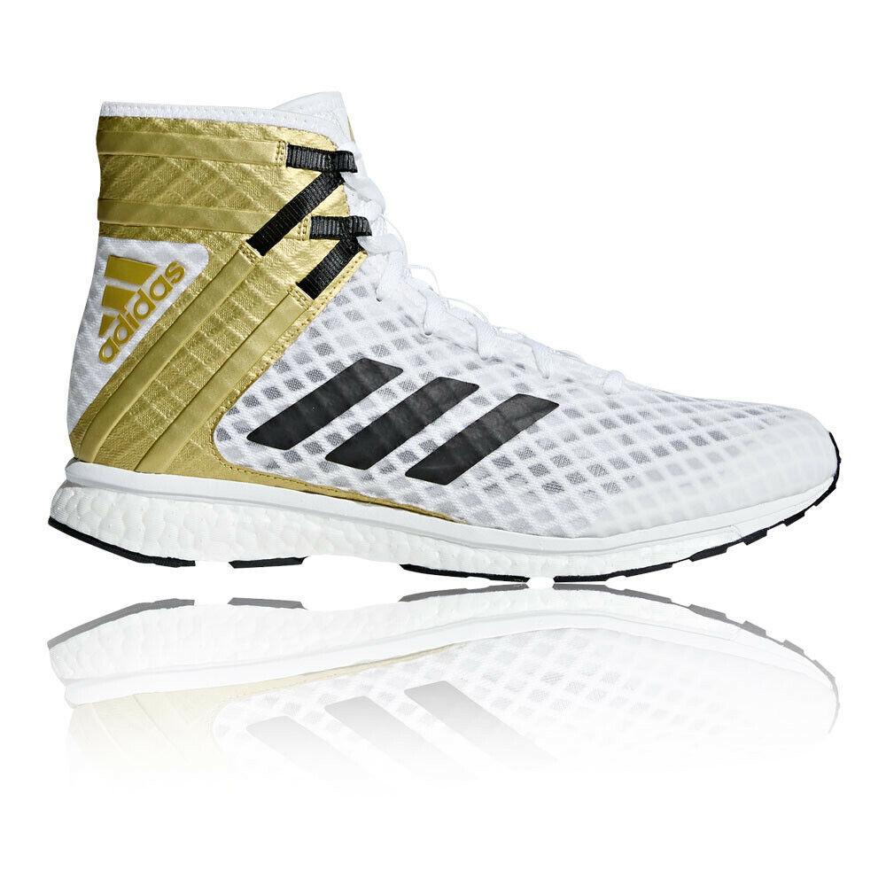 Adidas, hombre speedex 16.1, zapatos de boxeo boost, aire deportivo dorado y blancoo.