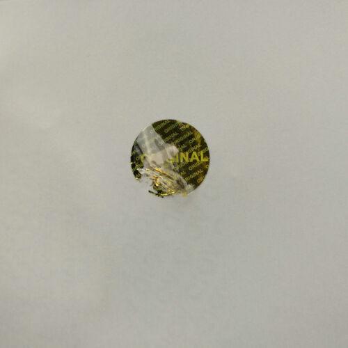 "hologram original Gold label sticker diameter  0.6/"" x 0.6/"" 1000PCS"