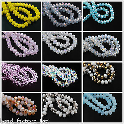 Wholesale 70Pcs 8mm Faceted Rondelle Crystal Glass Bead Loose Spacer Beads